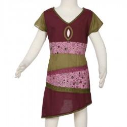 Vestido etnico chica asimetrico rojo violaceo