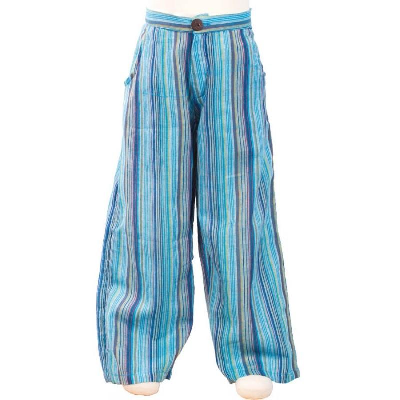 Pantalon baba cool garcon turquoise - Vetements hippie baba cool ...