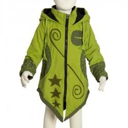 Manteau ethnique enfant capuche pointue vert anis