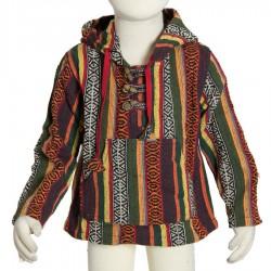 Sudadera poncho hippie chico capucha puntiaguda marron