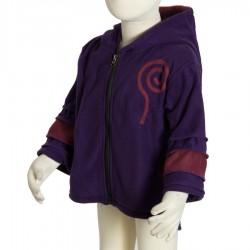 Veste polaire ethnique enfant capuche lutin violet foncé