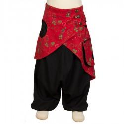 Sarouel fille jupe rouge et noir 10ans