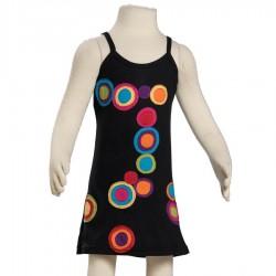 Robe ethnique ronds superposés noire et multicolore
