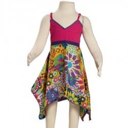 Robe ethnique indienne rose et jaune