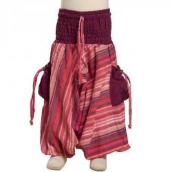 Pantalon afgano indio chica rayado violeta