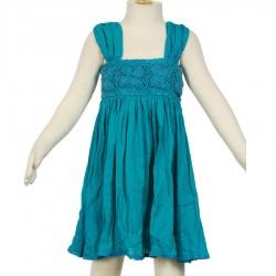 Robe crochet fait main turquoise