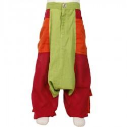 Sarouel pantalon garcon ethnique anis rouge orange