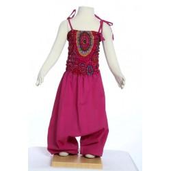 Sarouel robe fille ethnique coton indien rose