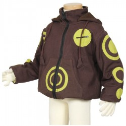 Boy ethnic bomber hood brown and lemon green