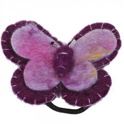 Elastique cheveux chouchou papillon violet