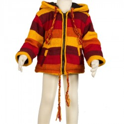 Veste laine fille garcon orange 4ans