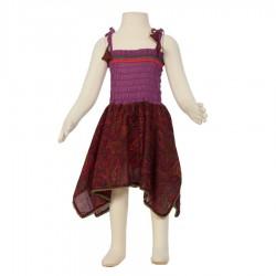 Vestido hippie Smock algodón indio ciruela