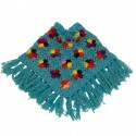 Poncho fille laine crochet turquoise 3-4ans