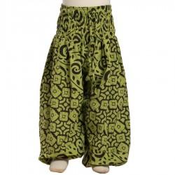 Pantalon bouffant coton indien imprimé vert anis