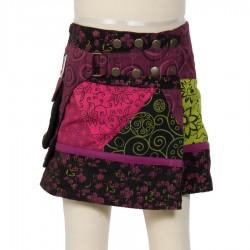 Falda hippie chica evolutiva violeta bordada mariposa