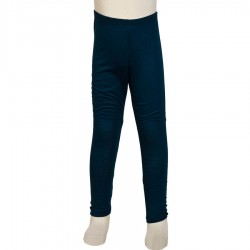 Ethnic legging kid girl plain petrol blue