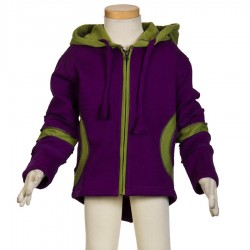 Ethnic kid jacket polar cotton purple and lemon