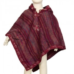Poncho polaire fille prune