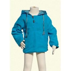 Sweat poncho enfant réversible turquoise