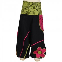 Sarouel fille fleur noir rose vert anis