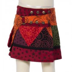 Falda hippie chica evolutiva naranja bordada estrella