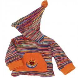 Sweatshirt capuche pompon rose 3ans
