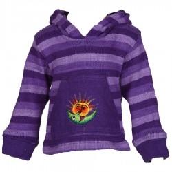 Sweatshirt pompon mauve 3ans