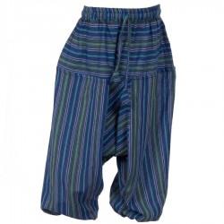 Sarouel rayé garçon coton traditionnel bleu