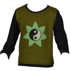 Teeshirt ethnique garçon Yin Yang kaki et noir