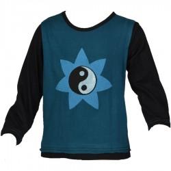 Teeshirt ethnique enfant Ying Yang bleu pétrole et noir