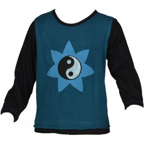 Teeshirt ethnique enfant Yin Yang bleu pétrole et noir