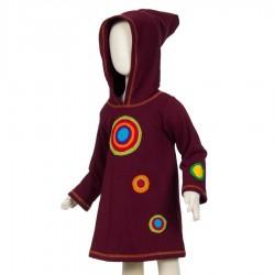 Vestido psichodelico capucha puntiaguda rojo violaceo