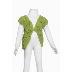 Gilet court fille crochet fait main anis