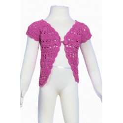 Gilet court fille crochet fait main rose