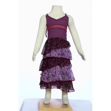 Robe longue fille baba cool dosnu voile volants prune