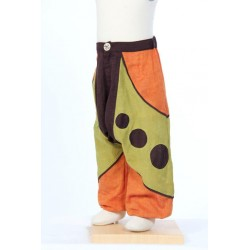 Sarouel pantalon garçon baba cool marron anis orange