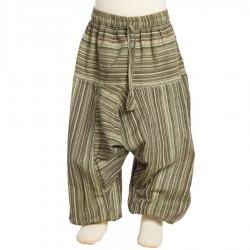 Pantalon rayado chico algodon tradicional marron caqui