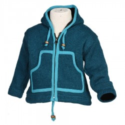 Veste enfant laine bleu pétrole