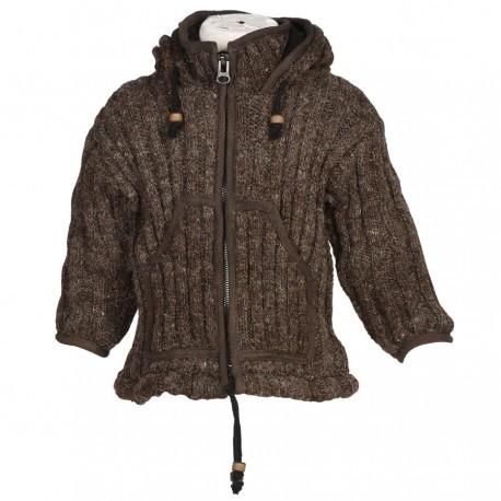 Blouson laine enfant uni marron