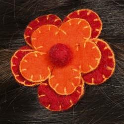 Barrette cheveux enfant clip fleur laine bouillie brodee orange