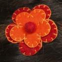 Hair kid clip pin flower felt embroidered orange