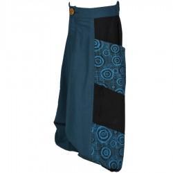 Sarouel fille imprimé bleu pétrole et noir