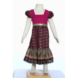 Vestido largo étnico chica algodon indio rosa