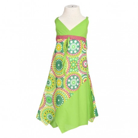 Robe pointue ethnique coton indien verte