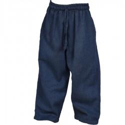 Pantalon baba cool droit uni bleu marine