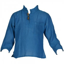 Chemise népalaise manches longues bleue