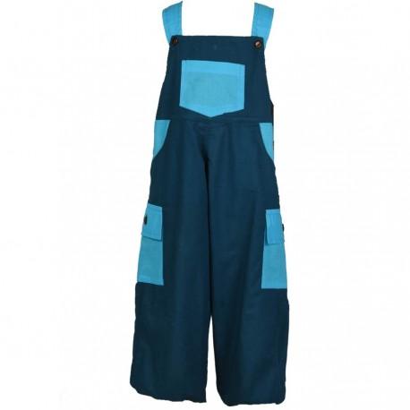 Salopette bouffante enfant bleu pétrole et turquoise