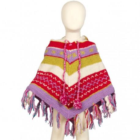 Poncho fille laine rouge mauve 3-4ans F5