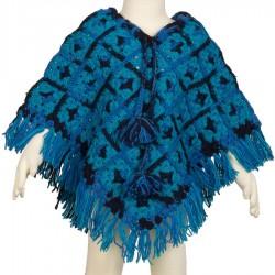Poncho chica lana ganchillo azul 4-6anos