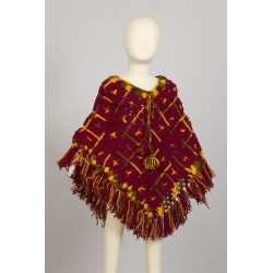Kid poncho wool crochet hippy darkred 4-6years